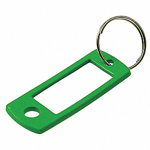 "2"" x 7/8"" Split Ring Key Tag, Black, Blue, Green, Purple, Red, Yellow; PK50"