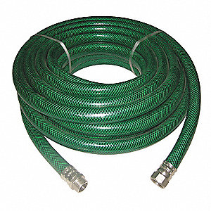 "50 ft. x 1"" dia. Water Hose, Reinforced PVC, 500 psi, Green"