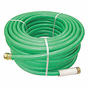 "75 ft. x 5/8"" dia. Water Hose, Reinforced PVC, 300 psi, Green"