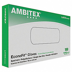 Ambitex Polyethylene Disposable Gloves, Powder Free