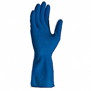 Latex Chemical Resistant Gloves, 11 mil Thickness, Flock Lining, Size XL, Blue, PK 12
