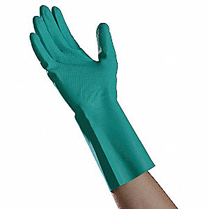 Nitrile Chemical Resistant Gloves, 15 mil Thickness, Flock Lining, Size S, Green, PK 12