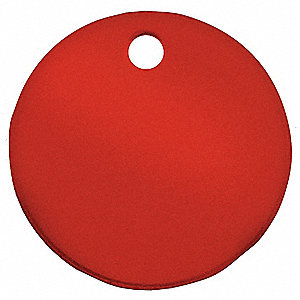 "Blank Tag,  Material Aluminum,  Color Red,  Height 2"",  Width 2"",  Shape Round,  PK 5"