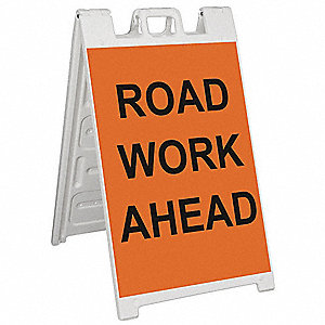 Barricade Sign,Road Work Ahead,45 in. H