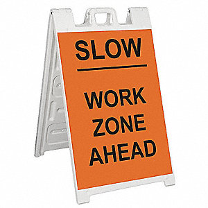 Barricade Sign,Slow Work Zone Ahead