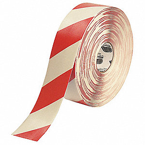 Ind Floor Tape,Roll,Red/White,Vinyl