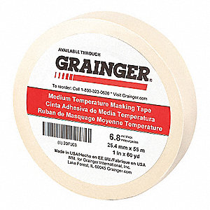 "Paper Masking Tape, Rubber Tape Adhesive, 6.80 mil Thick, 1"" X 60 yd., Tan, 1 EA"