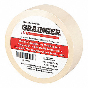 "Paper Masking Tape, Rubber Tape Adhesive, 6.80 mil Thick, 1-1/2"" X 60 yd., Tan, 1 EA"