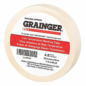 "Paper Masking Tape, Rubber Tape Adhesive, 4.80 mil Thick, 1"" X 60 yd., Tan, 1 EA"