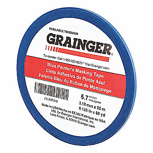 "Paper Painters Masking Tape, Rubber Tape Adhesive, 5.70 mil Thick, 1/8"" X 60 yd., Blue, 1 EA"