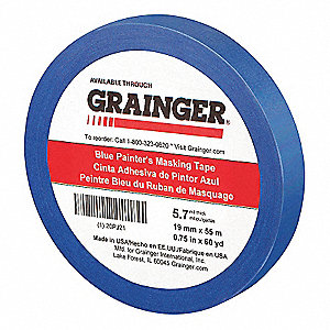 "Paper Painters Masking Tape, Rubber Tape Adhesive, 5.70 mil Thick, 3/4"" X 60 yd., Blue, 1 EA"