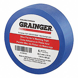 "Paper Painters Masking Tape, Rubber Tape Adhesive, 5.60 mil Thick, 1-1/2"" X 60 yd., Blue, 1 EA"