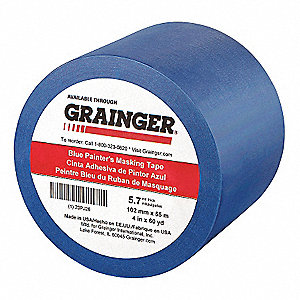 "Paper Painters Masking Tape, Rubber Tape Adhesive, 5.70 mil Thick, 4"" X 60 yd., Blue, 1 EA"