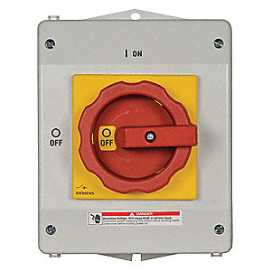 Safety Switch, 1, 4X, 12K NEMA Enclosure Type, 63 Amps AC, 50 HP @ 600VAC HP