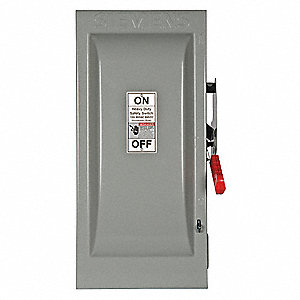 Safety Switch, 1 NEMA Enclosure Type, 100 Amps AC, 40 HP @ 600VAC HP