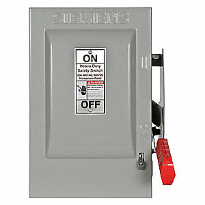 Safety Switch, 1 NEMA Enclosure Type, 30 Amps AC, 10 HP @ 600VAC HP