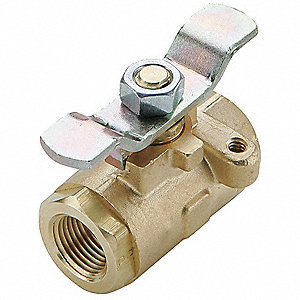 "Brass FNPT x FNPT Ball Valve, Oval, 3/8"" Pipe Size"