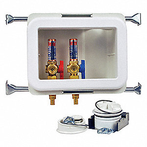 "10"" x 13.50"" Polystyrene/Low Lead Alloy Washing Machine Outlet Box with PEX 1807 Inlet Connection"