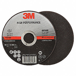 "4-1/2"" Type 1 Ceramic Abrasive Cut-Off Wheel, 7/8"" Arbor, 0.045""-Thick, 13,300 Max. RPM"
