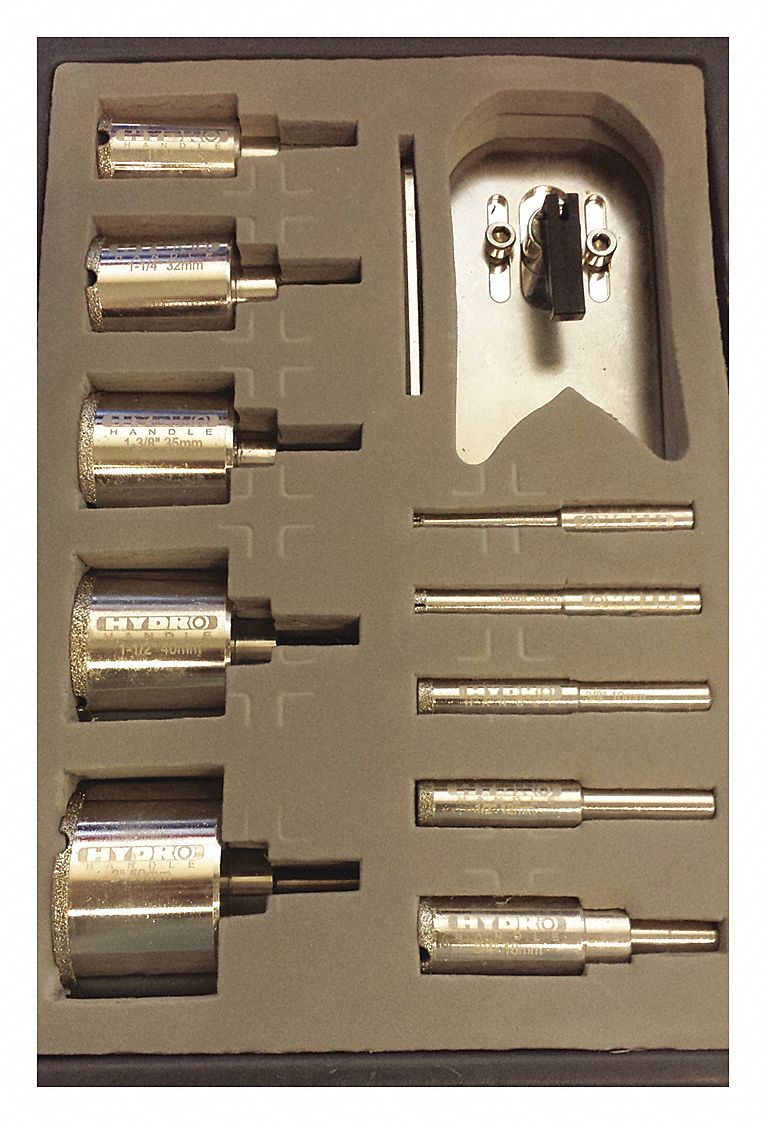 10-PC 3-Flat Glass and Tile Drill Bit Set, Electroplated Diamond, Uncoated