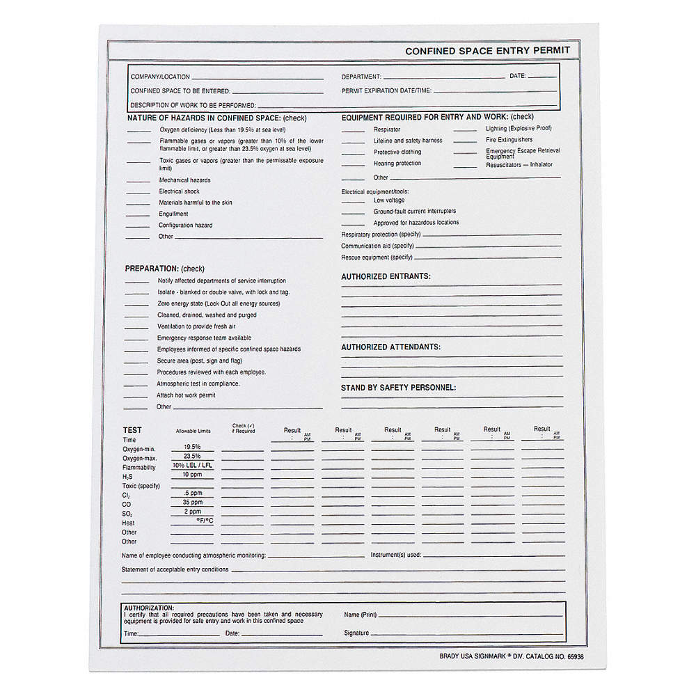 Confined Space Entry Permits, For Use With Mfr  No  65903, Paper, 8-1/2