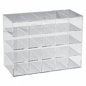"15-1/2"" x 6-13/16"" x 11-3/4"" Acrylic Safety Glasses Holder, Clear&#x3b; Holds (20) Glasses or Goggles"