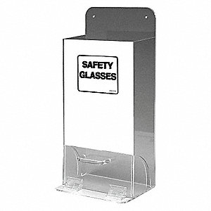 "8"" x 4"" x 18"" Acrylic Protective Eyewear Dispenser, Black/Clear&#x3b; Holds (20 to 25) Glasses or Goggles"