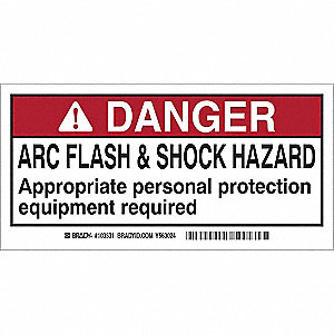 Arc Flash Protection Labl,2inHx4inW,PK10