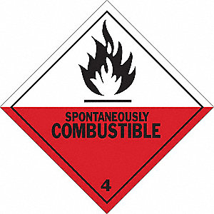 Hazardous Warning Label,4inHx4inW,Vinyl