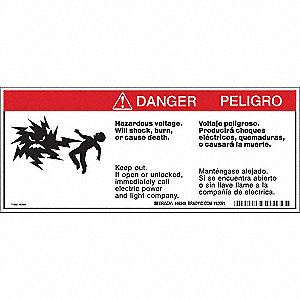 Warning Labels, 4-1/2inHx10-3/4inW, Tape