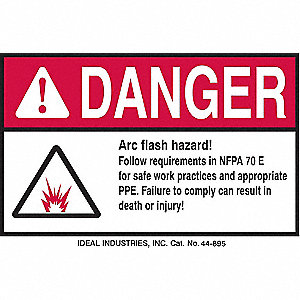 Arc Flash Protection Label,4inHx6inW,PK5
