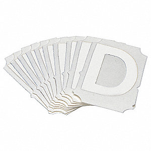 "Letter Label, D, White, 2"" Character Height, 10 PK"