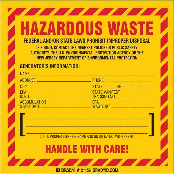 All Hazards Waste Management Planning Wmp Tool: BRADY Vinyl Hazardous Waste Label (New Jersey Specific), 6