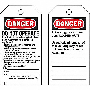 "Danger Tag, Cardstock, Do Not Operate I Certify That The Following, 5-3/4"" x 3"", 25 PK"