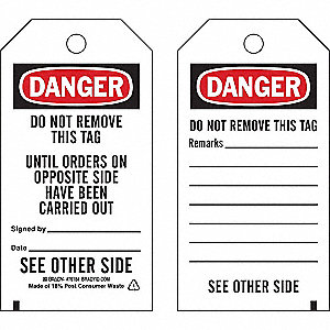 "Danger Tag, Accident Prevention, Polyester, 5-3/4"" x 3"""