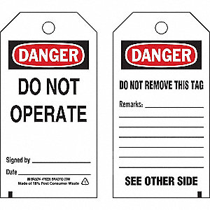 "Danger Tag, Polyester, Do Not Operate, 5-1/2"" x 3"", 25 PK"