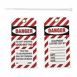 "Danger Tag, Vinyl, Danger Do Not Operate Lock-Out Tag, 5-1/2"" x 3"", 10 PK"