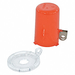 Push Button Lockout, Fits Button Dia. 16.0mm, Plastic, Red