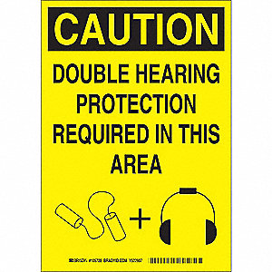 Caution Sign,Double Hearing,14 x 10 In.
