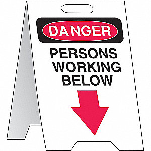 "Person Working, Danger, Plastic, 20"" x 12"", Free-Standing Floor, Not Retroreflective"