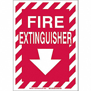 Fire Extinguisher Sign,10in. H x 14in. W