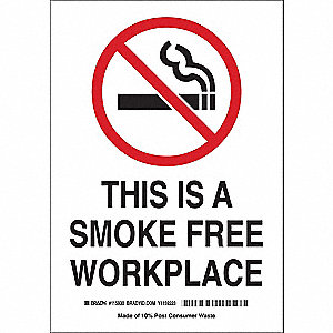 "No Smoking, No Header, 14"" x 10"", Adhesive Surface, Not Retroreflective"