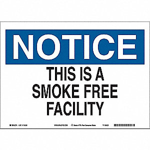 "No Smoking, No Header, Paper, 7"" x 10"", With Mounting Holes, Not Retroreflective"