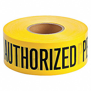 "Barricade Tape, Yellow, 3"" x 1000 ft., Authorized Personnel Only"