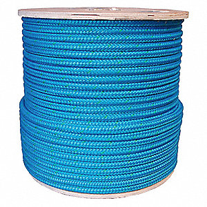 "1/2"" dia. Nylon/Polyester All Purpose Rigging Rope, Blue/Green Tracer, 600 ft."