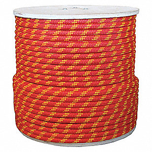 "1/2"" dia. Polyester Arborist Climbing Rope, Red/Yellow Checker, 600 ft."