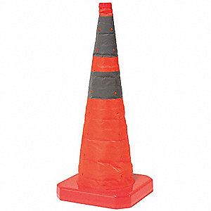 "Collapsible Traffic Cone, 18"" Cone Height, Orange, Nylon"