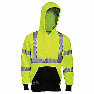 "Yellow/Black Flame-Resistant Hooded Sweatshirt, Size: XL, Fits Chest Size: 48"" to 50"", 16.0 cal./cm2"