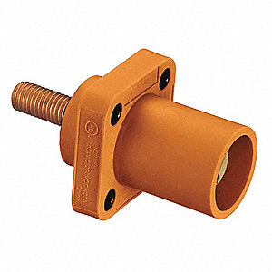 3R, 4X, 12 Taper Nose Receptacle, Male, Orange