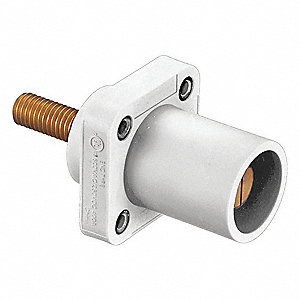 3R, 4X, 12 Taper Nose Receptacle, Male, White